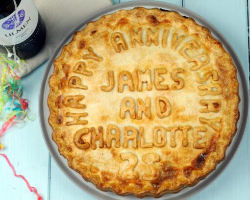 Personalised anniversary pie