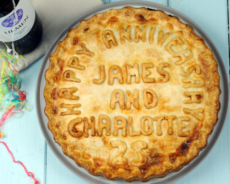 Personalised anniversary pie