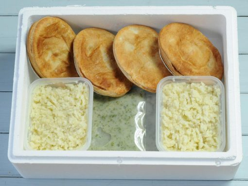 4 pie mash and liquor from Goddards